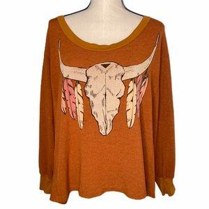 Wildfox Bull Skull Desert Boho Jumper Sweatshirt